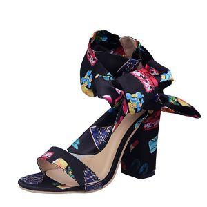 Chic / Belle Noire Désinvolte Floral Sandales Femme 2020 Noeud Bride Cheville 8 cm Talons Épais Peep Toes / Bout Ouvert Sandales