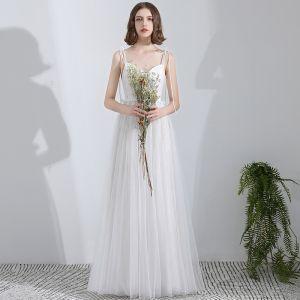Schlicht Weiß Lange Hochzeit 2018 A Linie Tülle Korsett Strand Brautkleider