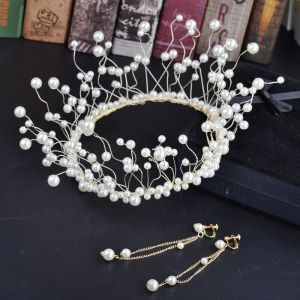 Amazing / Unique Gold Ivory Bridal Jewelry 2018 Metal Pearl Tiara Earrings Accessories