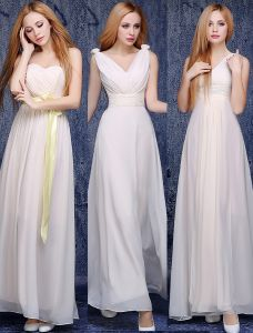 6 Styles Of A-line Chiffon Light Champagne Bridesmaid Dresses