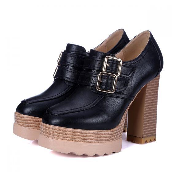 Enkel Svart Gateklær Spenne Kvinners støvler 2021 Ankel 11 cm Tykk Hæler Spisse Boots Høyhælte