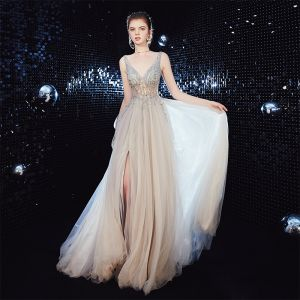 Sexy Champagne See-through Evening Dresses  2020 A-Line / Princess Deep V-Neck Sleeveless Beading Split Front Sweep Train Ruffle Backless Formal Dresses