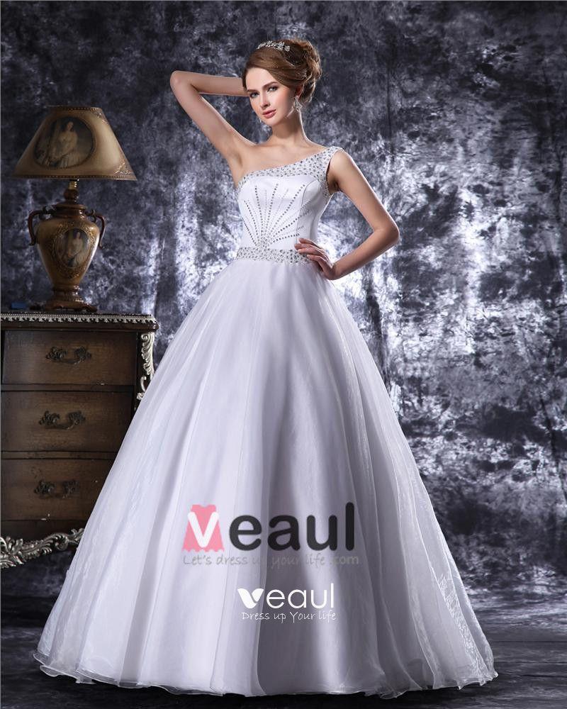 Elegant Beading Floor Length One Shoulder Satin A Line Wedding Dress
