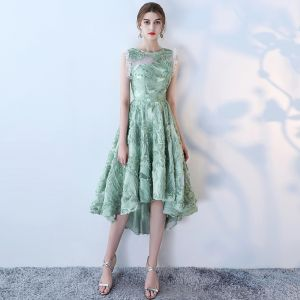 Amazing / Unique 2017 Green Evening Dresses  Lace U-Neck Pierced Homecoming Formal Dresses