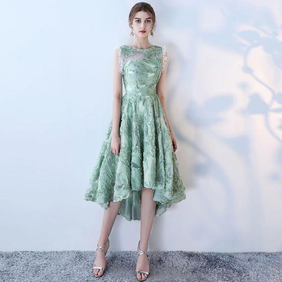 Amazing / Unique 2017 Green Evening Dresses  Lace U-Neck Pierced Homecoming Formal Dresses