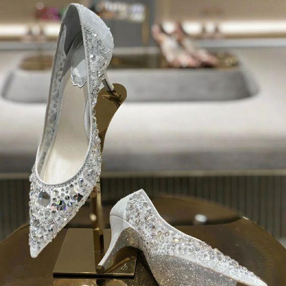 Sparkly Sjarmerende Hvit Blonder Rhinestone Brudesko 2021 Tyll 7 cm Stiletthæler Spisse Bryllup Pumps