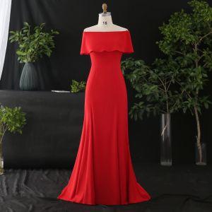 Sencillos Rojo Talla Extra Vestidos de noche 2020 Trumpet / Mermaid Fuera Del Hombro Cremallera Para Arriba Color Sólido Sin Mangas Sin Espalda Colas De Barrido Noche Vestidos Formales
