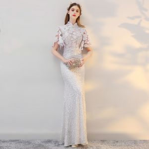 Chinese style Beach Wedding Dresses 2017 White Trumpet / Mermaid Floor-Length / Long Pearl High Neck Short Sleeve Sequins Lace Appliques