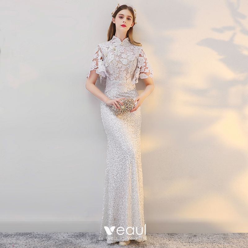 Chinese Style Beach Wedding Dresses 2017 White Trumpet Mermaid Floor Length Long Pearl High Neck Short Sleeve Sequins Lace Appliques,Burgundy Winter Wedding Bridesmaid Dresses