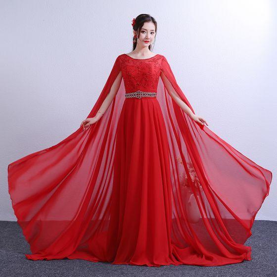Chic / Beautiful Red Chapel Train Evening Dresses  2018 A-Line / Princess With Cloak U-Neck Chiffon Beading Crystal Rhinestone Evening Party Formal Dresses