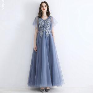 Fine Himmelen Blå Selskapskjoler 2019 Prinsesse Firkantet Hals Korte Ermer Appliques Blonder Beading Lange Buste Formelle Kjoler