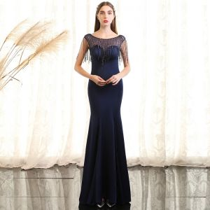 Chic / Beautiful Navy Blue Evening Dresses  2017 Trumpet / Mermaid Crystal Scoop Neck Sleeveless Ankle Length Formal Dresses