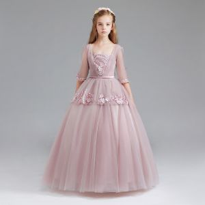 Vintage Blushing Pink Flower Girl Dresses 2017 Ball Gown Square Neckline 3/4 Sleeve Appliques Lace Sash Floor-Length / Long Ruffle Wedding Party Dresses