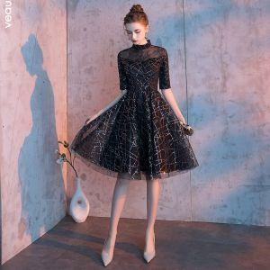 Piękne Czarne Homecoming Sukienki Na Studniówke 2019 Princessa Wysokiej Szyi 1/2 Rękawy Cekiny Długość do kolan Sukienki Wizytowe