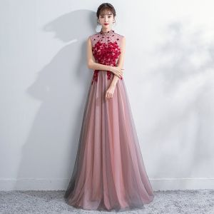 Chinese style Blushing Pink Evening Dresses  2018 A-Line / Princess Crystal Lace Flower Appliques High Neck Backless See-through Sleeveless Floor-Length / Long Formal Dresses