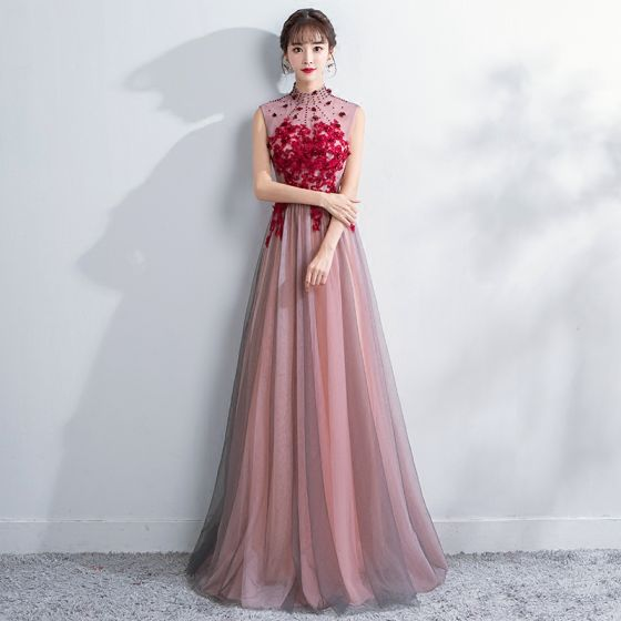 Chinese Style Blushing Pink Evening Dresses 2018 A Line Princess