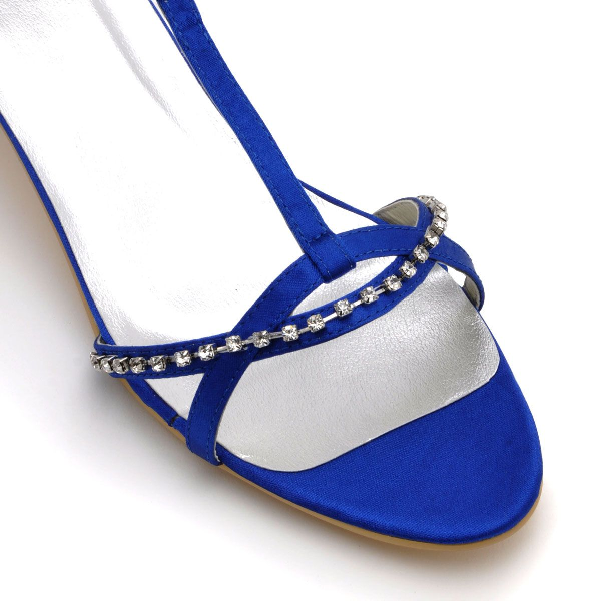 Low-heeled Party Shoes Open Toe Satin Wedding Shoes Diamond Chain Decorative Head