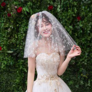Błyszczące Bling Bling Białe Ślub Koronkowe Tiulowe Aplikacje Krótkie Welony Ślubne 2019