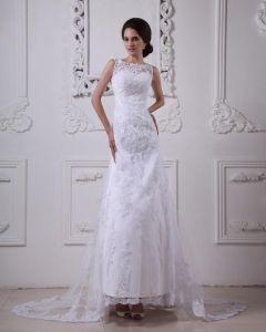 Satin Spitze Rundhals Sweep Mermaid Brautkleider Hochzeitskleid