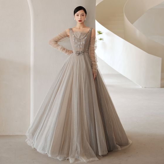 Fashion Grey Beading Prom Dresses 2021 A-Line / Princess Square Neckline Long Sleeve Bow Backless Floor-Length / Long Formal Dresses
