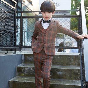 Modest / Simple Orange Striped Long Sleeve Boys Wedding Suits 2017