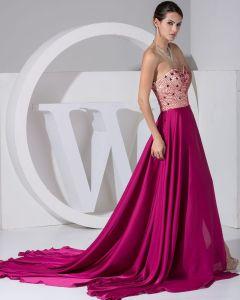 Fashion Chiffon Charmeuse Silk Jointing Beaded Sweetheart Court Train Women Evening Dress