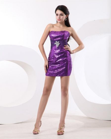 Sequins Strapless Thigh Length Cocktail Dresses