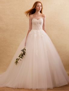 elegante bruidsjurken 2016 de schouder kralen applique kant ruche tule ruglooze bruidsjurk