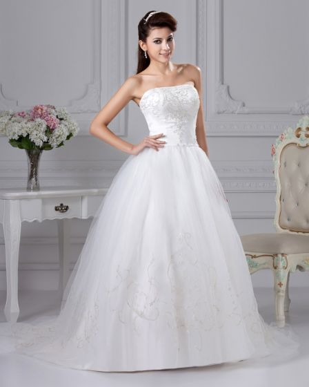 Strapless Chapel Train Organza Satin Ball Gown Wedding Dress
