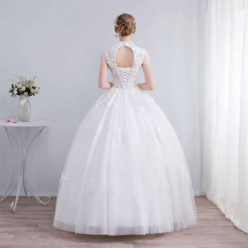 Elegant White Wedding Dresses 2019 Ball Gown High Neck Lace Flower Sequins Short Sleeve Backless Floor-Length / Long