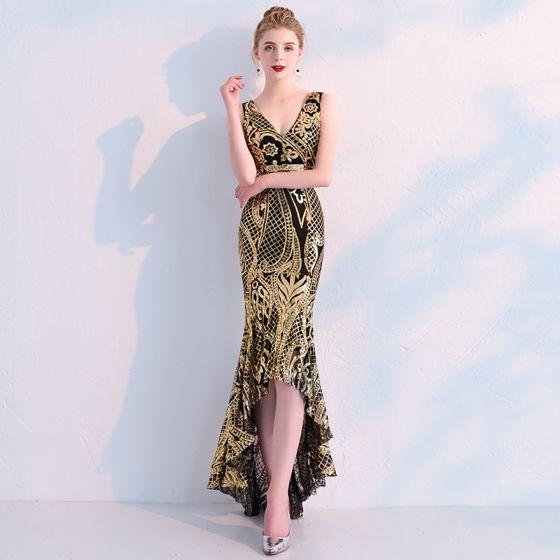 Uroczy Czarne Złote Sukienki Wieczorowe 2019 Syrena / Rozkloszowane Cekiny V-Szyja Bez Rękawów Bez Pleców Asymetryczny Sukienki Wizytowe