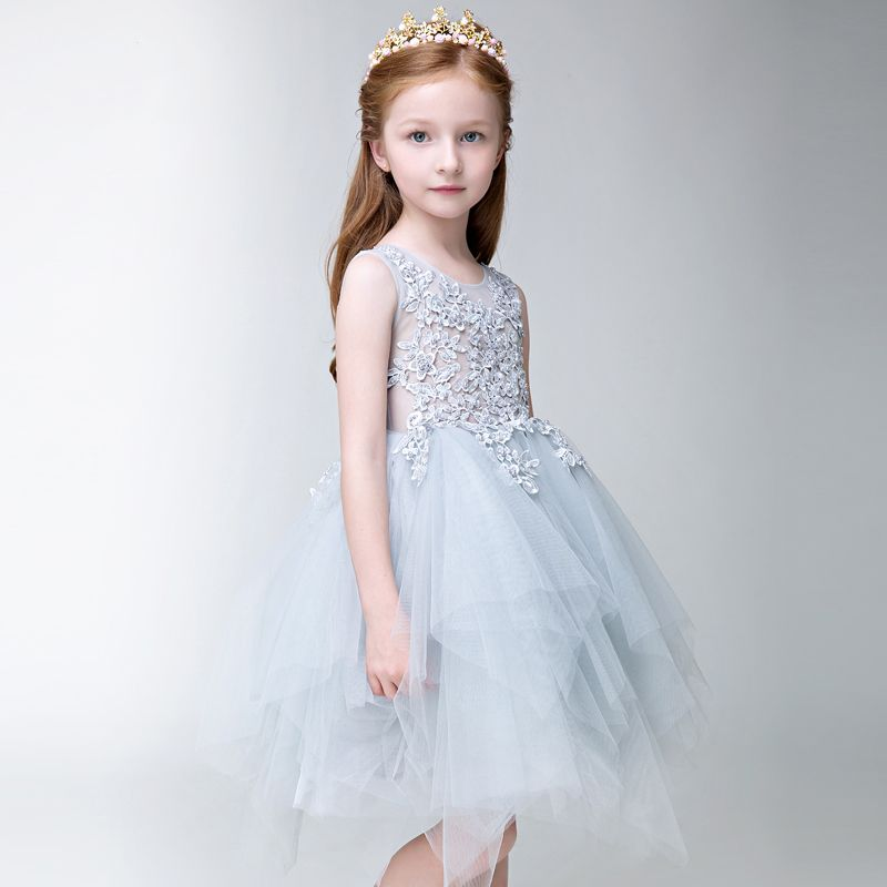 Chic / Beautiful Church Wedding Party Dresses 2017 Flower Girl Dresses Silver Ball Gown Knee-Length Scoop Neck Sleeveless Flower Appliques Pearl