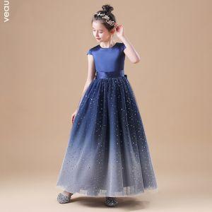Starry Sky Navy Blue Flower Girl Dresses 2020 A-Line / Princess Scoop Neck Sleeveless Bow Sash Star Sequins Floor-Length / Long Ruffle