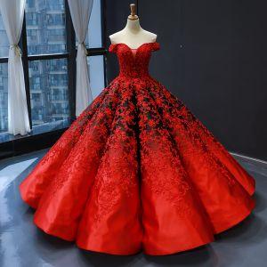Magnífico Rojo Negro Satén Bailando Vestidos de gala 2020 Ball Gown Fuera Del Hombro Manga Corta Sin Espalda Apliques Con Encaje Rebordear Perla Largos Ruffle Vestidos Formales