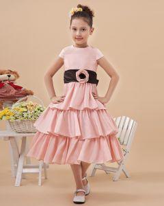 Satin Handmade Flowers Knee Length Flower Girl Dresses