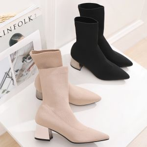 Classy Black Casual Braid Womens Boots 2020 5 cm Thick Heels Pointed Toe Boots