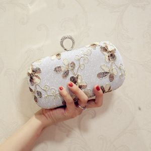 Bling Bling Silver Embroidered Glitter Metal Clutch Bags 2018