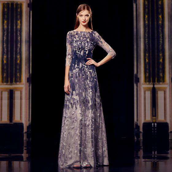 Moda Szary Granatowe Sukienki Wieczorowe 2020 Princessa Kwadratowy Dekolt 3/4 Rękawy Aplikacje Z Koronki Długie Wzburzyć Sukienki Wizytowe