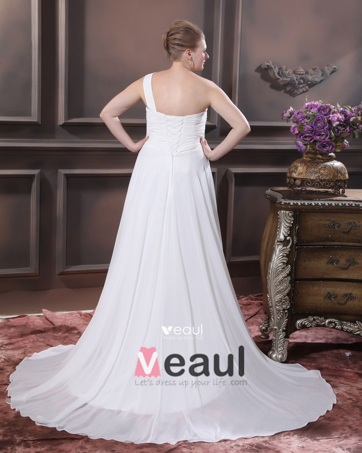 Chiffon Beads One Shoulder Floor Length Plus Size Bridal Gown Wedding Dress