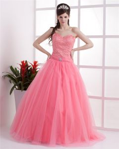 Ball Gown Satin Yarn Ruffle Beading Sweetheart Floor Length Quinceanera Prom Dress