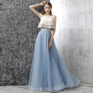 Bohemia 2 Piece Prom Dresses 2017 A-Line / Princess Sleeveless Beading Pearl Flower Ruffle Formal Dresses Sweep Train