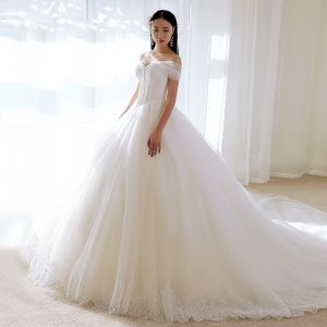 Chic / Beautiful Ivory Wedding Dresses 2018 Ball Gown Off-The-Shoulder Short Sleeve Backless Appliques Lace Glitter Tulle Ruffle Cathedral Train