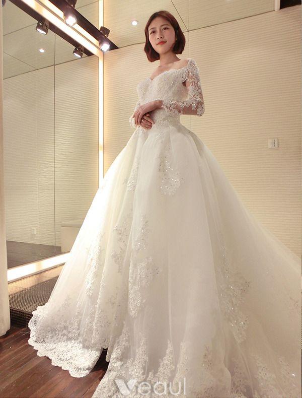 Luxus Brautkleid 2016 Spitze V-ausschnitt Pailletten Nieren Rückenfreies Hochzeitskleid Mit Langen Nachlauf