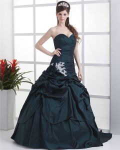 Ball Gown Sleeveless Flowers Embroidery Ruffles Applique Sweetheart Floor Length Quinceanera Prom Dresses