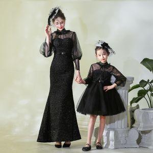 Vintage / Originale Noire Transparentes Robe De Soirée 2019 Col Haut Gonflée 3/4 Manches Tachetée Tulle Volants Robe De Ceremonie