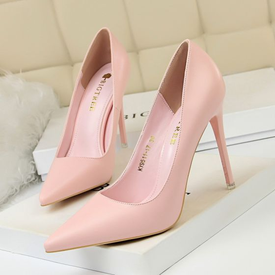 Modest / Simple Blushing Pink Street Wear Pumps 2020 10 cm Stiletto Heels Pointed Toe Pumps