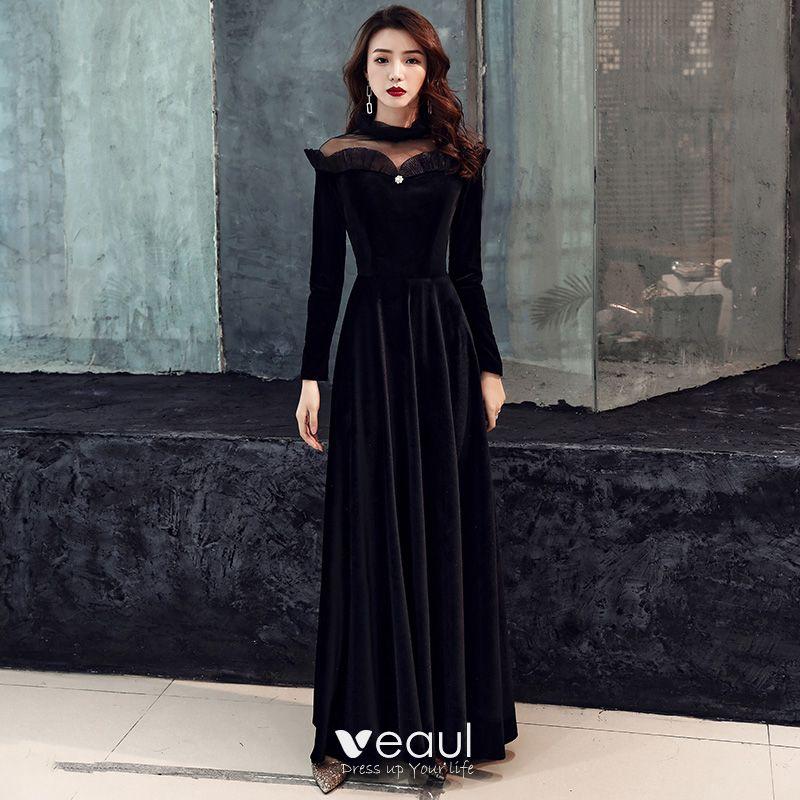 Elegant Noire Daim Transparentes Hiver Robe De Soiree 2019 Princesse Col Haut Manches Longues Longue Volants
