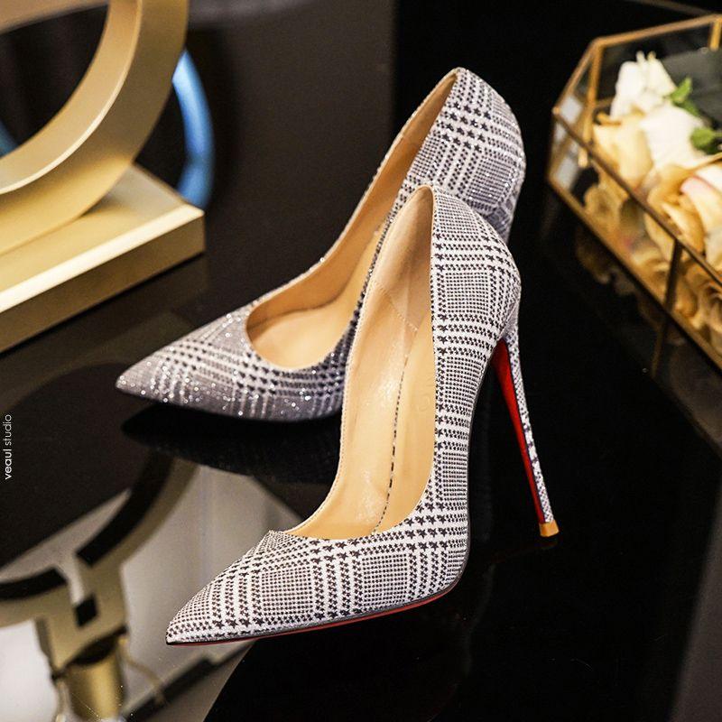 Sparkly Silver Evening Party Pumps 2019 Sequins 12 cm Stiletto Heels Pointed Toe Pumps