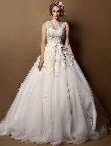 Elegante Brautkleider 2016 A-line Rundhalsausschnitt In Hochwertigen Handgemachten Applique Spitze Hochzeitskleider