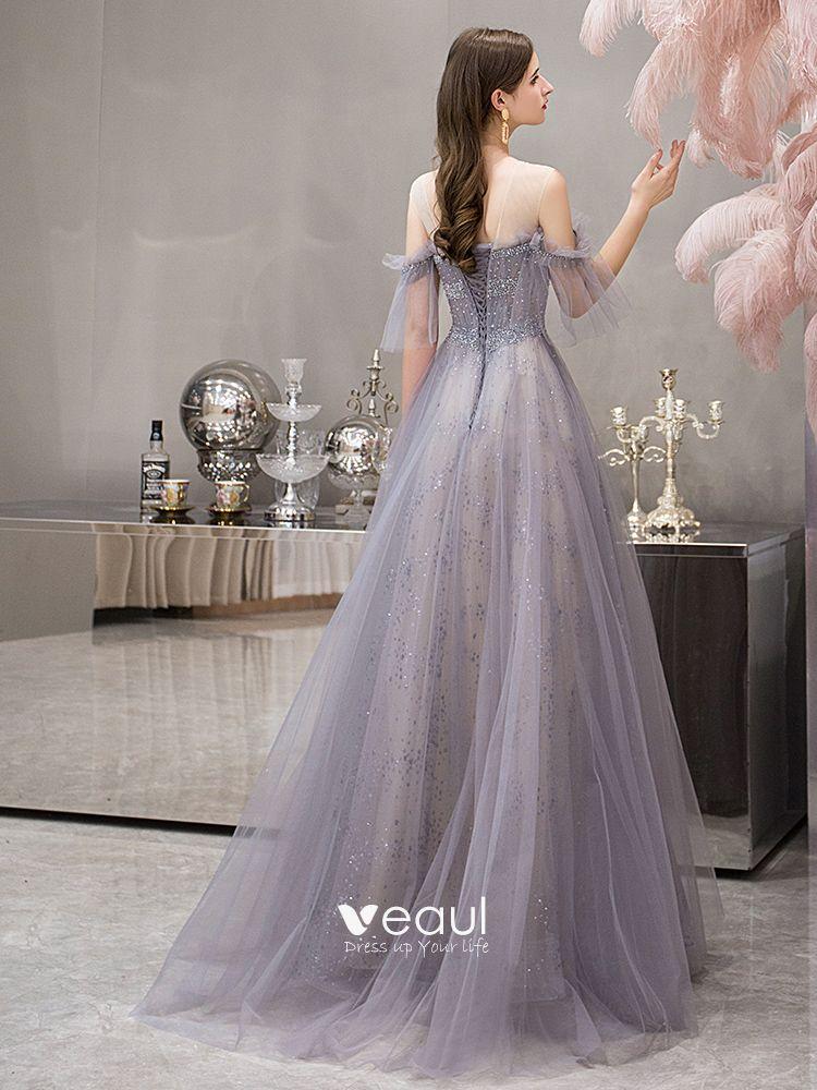 Elegant Grey See-through Evening Dresses  2019 A-Line / Princess Short Sleeve Scoop Neck Beading Glitter Tulle Floor-Length / Long Ruffle Backless Formal Dresses